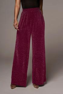 Resmi Kırmızı Geniş Bacaklar Yüksek Bel Metalik Pantolon