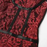 Mini vestido sexy con tirantes de encaje rojo y negro a media noche