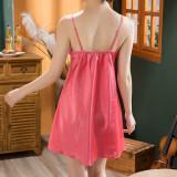 Valentine Sexy Lace Patch Satin Strap Vestido Pijama