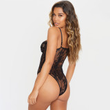 Sexy schwarze High Cut Spitzenriemen Teddy Dessous