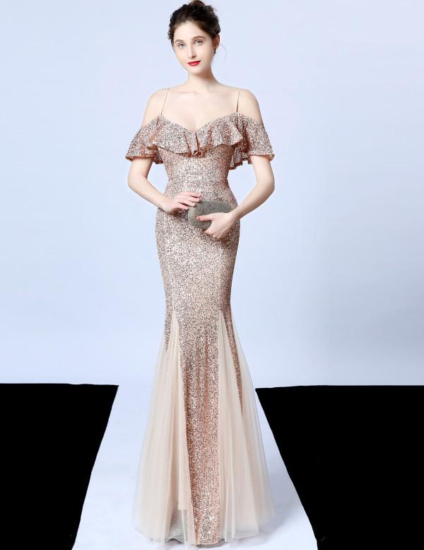 Formale Pailletten Meerjungfrau Riemen Abendkleid