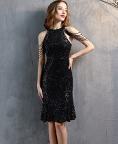 Formal Sequins Scoop Neck Mermaid Party Dress