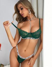 Sexy kanten bh en panty met letterprint