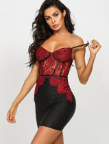 Sexy rotes und schwarzes Spitzenpatch Mid Night Strap Minikleid