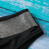 Schwarz und Silber Sparkly Sexy Bikini Set