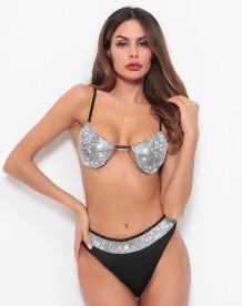 Siyah ve Gümüş Parlak Seksi Bikini Seti