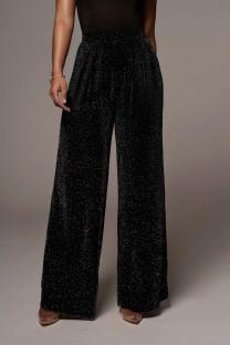 Pantalon noir à jambes larges et taille haute métallisé formel