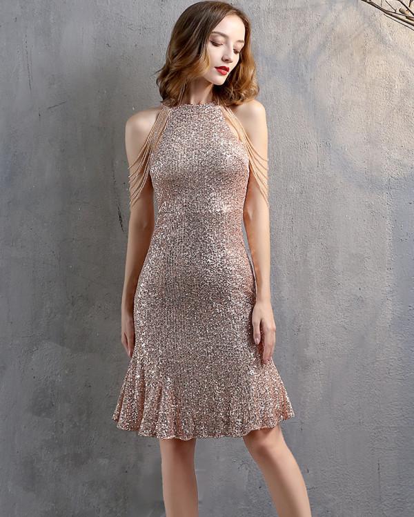 Vestido de fiesta de sirena con cuello redondo y lentejuelas formales