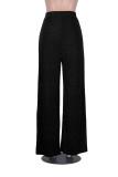 Pantalones negros formales de pierna ancha de cintura alta metálicos
