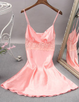 Valentine Sexy Lace Patch Satin Strap Kleid Pyjama