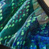 Conjunto de lencería sexy con sujetador y bragas con estampado negro y verde