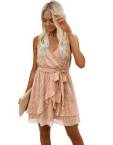 Vestido de tirantes cruzados de cintura alta con estampado informal de verano con cinturón