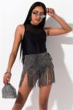 Fiesta falda brillante con borlas de cintura alta