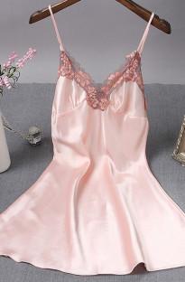 Sevgililer günü seksi dantel yama saten askılı elbise pijama