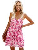 Sommer Casual Print High Waist Wickelriemen Kleid mit Gürtel