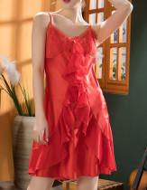 Valentine Sexy Lace Patch Satin Strap Dress Pajama