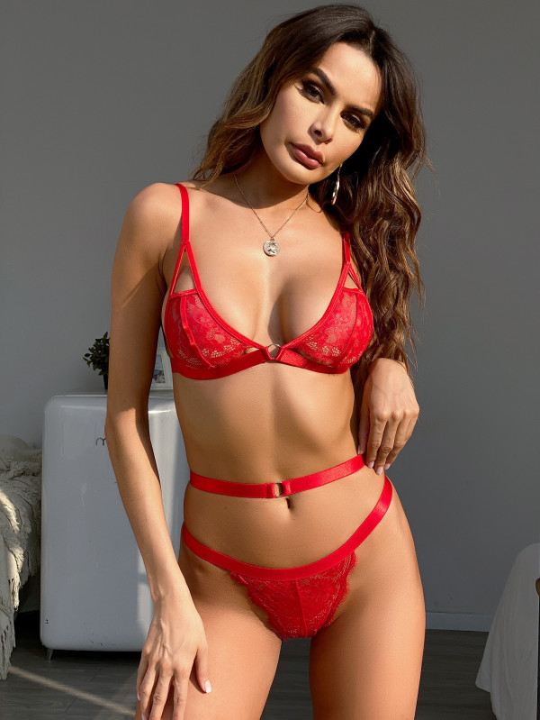 Sexy Red Lace BH und Panty Dessous Set