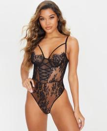 Sexy zwarte hoog uitgesneden kanten riem teddy lingerie