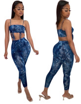 Party Tie Dye Blau Sexy Strap Crop Top und Hosen Matching Set