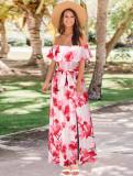 Vestido largo floral con hombros descubiertos y elegante de verano