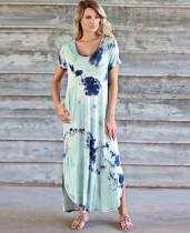Sommer Casual Tie Dye Seitenschlitz Langes Hemdkleid mit V-Ausschnitt