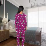 Drucken Sexy Patch Butt Langarm Pyjama Jumpsuit
