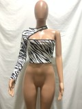 Zebradruck Sexy Irregular Party Top