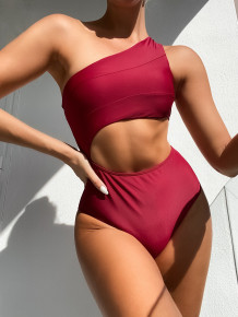 One Piece Red Cut Out One Schulterbademode