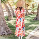 Sommer Elegant Turndown Off Schulter Langes Blumenkleid