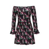 Vestido corto casual de manga larga con hombros descubiertos y estampado de primavera