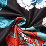 Vestido largo con correa de cintura alta floral elegante de verano