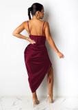 Sexy Solid Plain Irregular Partykleid mit gerafften Riemen