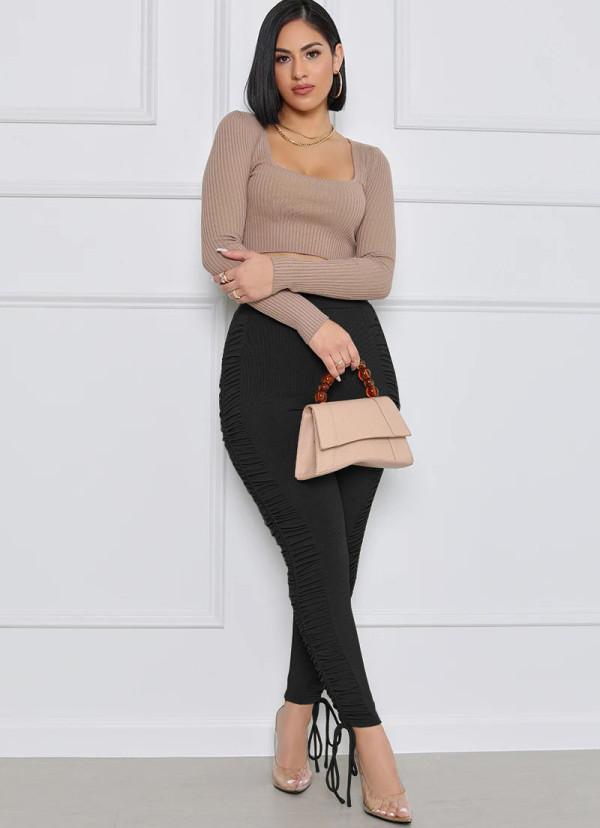 Pantalones ajustados con cordones fruncidos de cintura alta lisos sexy