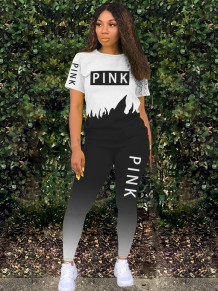 Two Piece Letter Print Contrast Gradient Shirt and Pants Set