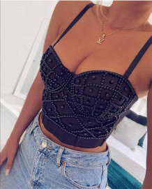 Party Sexy Beaded Strap Crop Top