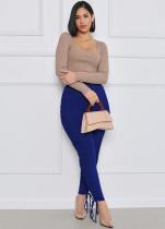 Calça justa sexy com cintura alta e cintura alta com franzido