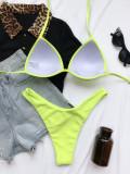 Zweiteilige einfarbige Neckholder-Badebekleidung