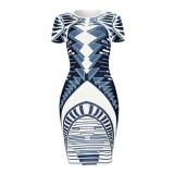 Sommer Print Retro Party Sexy Bodycon Midi Kleid