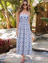 Vestido largo casual con estampado retro blanco y azul de verano