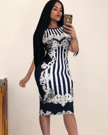 Summer Print Retro Party Sexy Bodycon Midi Dress