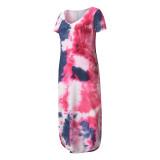 Vestido de camisa larga con cuello en V y abertura lateral con efecto tie dye casual de verano