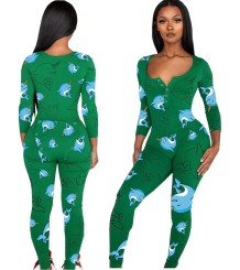 Print Sexy Patch Butt Long Sleeve Pajama Jumpsuit