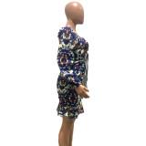 Vintage Floral Puff Sleeve Meerjungfrau Partykleid