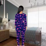 Mono pijama de manga larga con parche sexy estampado