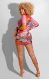 Vestido mini club transparente con estampado de mapa sexy y mangas completas