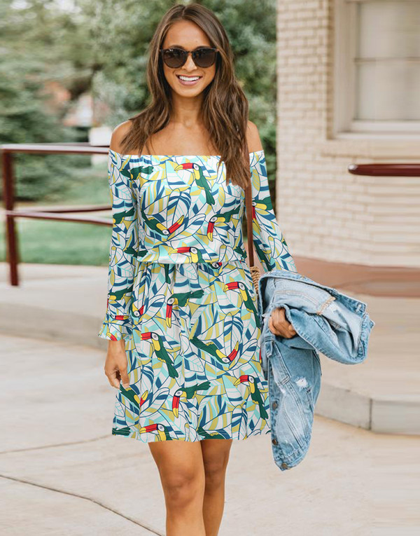 Frühling Lässig Langarm Off Shoulder Print Kurzes Kleid