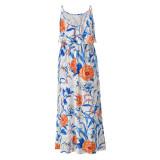 Sommer Elegant Floral High Waist Strap Langes Kleid