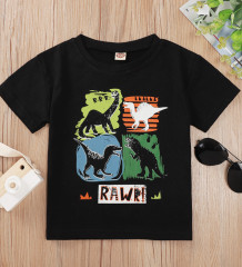 Baby Boy Summer Print Black 0-Neck Shirt