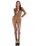 Sexy mono de cuero con estampado de leopardo y mangas completas