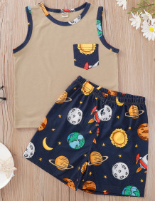 Baby Boy Summer Print Vest and Shorts Set